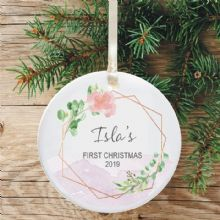 Baby's 1st Christmas Ceramic Christmas Tree Decoration  - Geometric Flower and Mountain Design